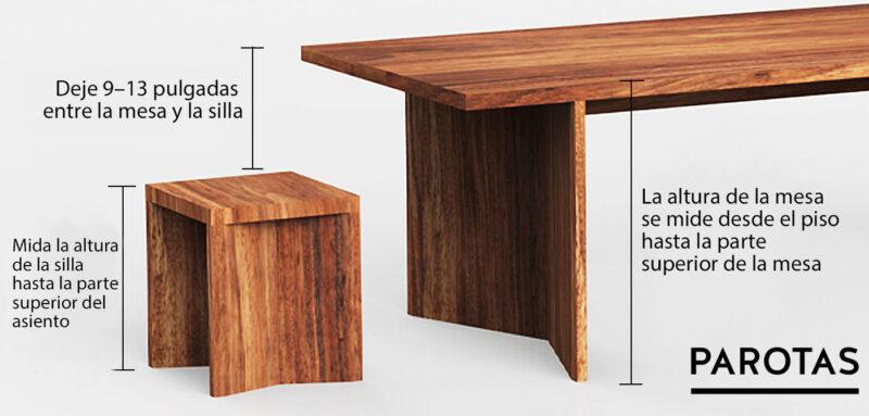 medida altura mesa sillas