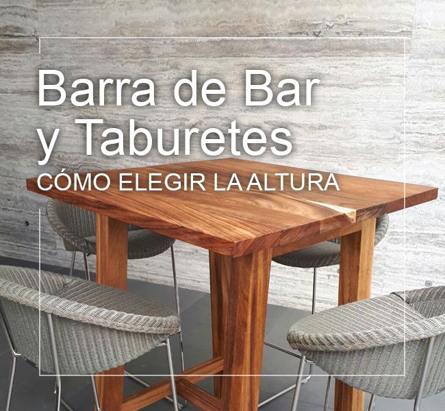 altura estándar barra de bar y taburetes o bancos