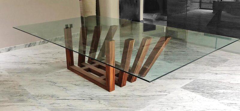 mesa parota comedor cristal moderna