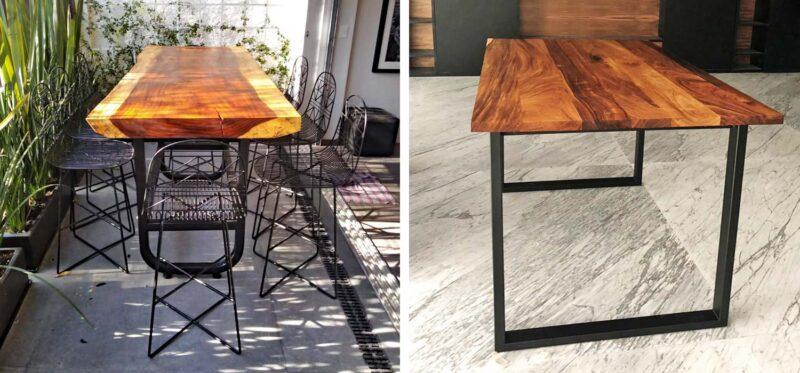 modern parota wood table iron legs