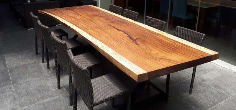 parota live edge slab dining table