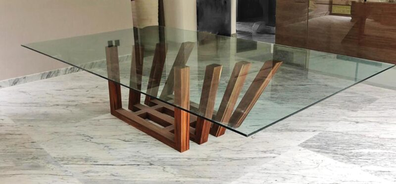 parota table wood glass modern