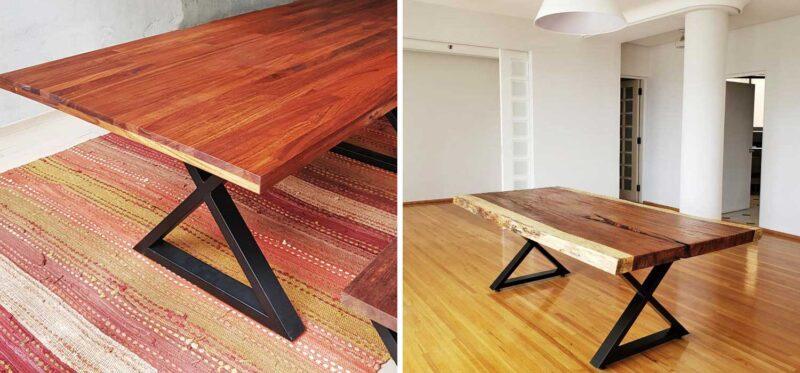 parota wood furniture metal legs