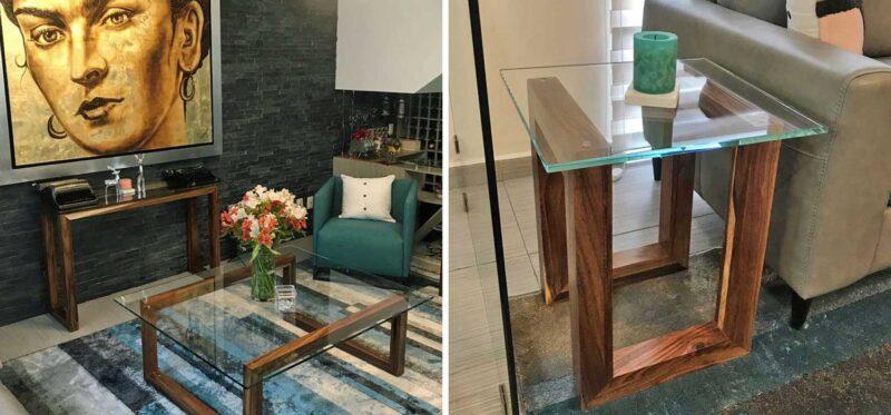 parota wood furniture with glass