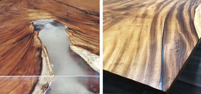 parota wood resin table